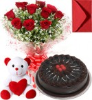 send Half Kg Chocolate Traffle Cake Roses Bouquet N Teddy delivery