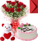 send Half Kg Strawberry Cake  Roses Bouquet N Teddy delivery