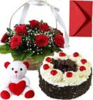 send Black Forest Cake Half Kg Roses Basket N Teddy Gifts delivery