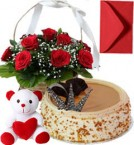 send Butterscotch Cake Half Kg Roses Basket N Teddy Gifts delivery