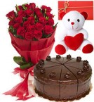send Big Red Rose Bouquet 500gms Black Forest Cake Teddy Card delivery