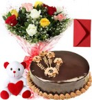 send 1Kg Chocolate Traffle Cake Mix Roses Bouquet Teddy n Card delivery