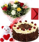 send 1Kg Black Forest Cake Mix Roses Bouquet Teddy n Card delivery