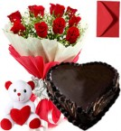 send  1Kg Heart Shape Black Forest Cake Mix Roses Bouquet Teddy n Card  delivery