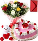 send 1Kg Heart Shape Strawberry Cake  Roses Bouquet Teddy n Card delivery