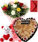 send 1Kg Heart Shape Butterscotch Cake Roses Bouquet Teddy n Card delivery