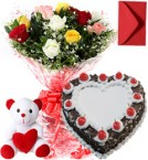 send 1Kg Heart Shape Black Forest Cake Roses Bouquet Teddy n Card delivery