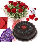 send Chocolate Cake Roses Bouquet Teddy N Chocolate delivery