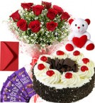 send Black Forest Cake Roses Bouquet Teddy N Chocolate delivery