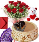 send Butterscotch Cake Roses Bouquet Teddy N Chocolate delivery