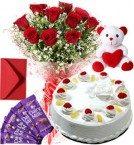 send Pineapple Cake Roses Bouquet Teddy N Chocolate delivery