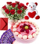 send Strawberry Cake Roses Bouquet Teddy N Chocolate delivery