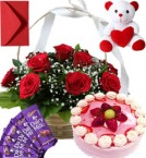 send Strawberry Cake Roses Basket Teddy N Chocolate delivery