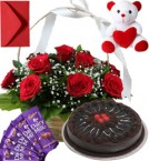 send Chocolate Cake Roses Basket Teddy N Chocolate delivery