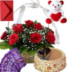 send Butterscotch Cake Roses Basket Teddy N Chocolate delivery