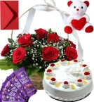 send Pineapple Cake Roses Basket Teddy N Chocolate delivery