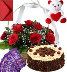send Black Forest Cake Roses Basket Teddy N Chocolate delivery
