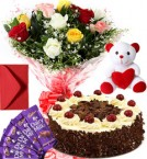 send 1Kg Black Forest Cake Roses Bouquet Teddy N Chocolate delivery