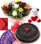 send 1Kg Chocolate Cake Roses Bouquet Teddy N Chocolate Combo Gift delivery