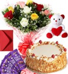 send 1Kg Butter Scotch Cake Roses Bouquet Teddy N Chocolate Combo Gift delivery