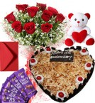 send 1Kg Heart Shape Butter Scotch Cake Roses Bouquet Teddy N Chocolate Combo Gift delivery