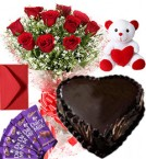send 1Kg Heart Shape Chocolate Cake Roses Bouquet Teddy N Chocolate Combo delivery