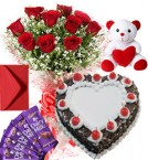 send 1Kg Heart Shape Black Forest Cake Roses Bouquet Teddy N Chocolate Combo delivery
