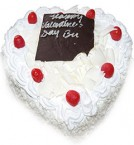 send Order1Kg Heart Shape White Forest Cake  Delivery