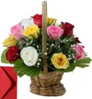 send 20 Mix Roses Basket delivery