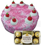 send Half Kg Strawberry Cake Cake 16 Ferrero Rocher Chocolate Gift delivery