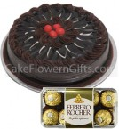 send Half Kg Chocolate Cake 16 Ferrero Rocher Chocolate Gift delivery