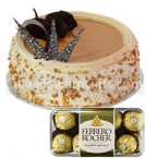 send Half Kg butterscotch cake 16 Ferrero Rocher Chocolate Gift delivery