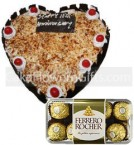 send 1Kg Heart Shape Butterscotch Cake 16 Ferrero Rocher Chocolate Gift delivery