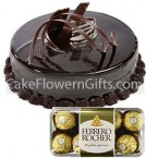 send 1Kg Chocolate Cake 16 Ferrero Rocher Chocolate Gift delivery