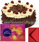 send 1Kg Black Forest Cake Cadbury Celebration Gift Box delivery