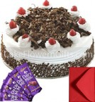 send 1Kg Black Forest Cake Cadbury Dairy Milk Chocolates Gifts delivery
