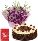 send Order500gms Black Forest Cake Orchids Bouquet Delivery