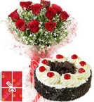 send 1Kg Eggless Chocolate Black Forest Cake Roses bouquet Greeting Card delivery