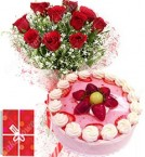 send Eggless 1Kg Strawberry Cake 10 Mix Roses bouquet n Greeting Card delivery