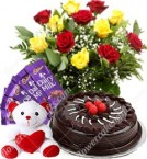 send Eggless 500 gms chocolate cake Red Roses bouquet teddy Chocolate delivery