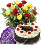 send Eggless 500gms Black Forest Cake Red Yellow Roses n Chocolate Gift delivery
