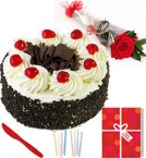 send Single Roses Eggless Half Kg Black Forest Cake Candle Greeting Card delivery