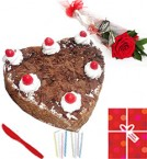 send Single Roses Heart Shaped 1Kg Black Forest cake Candle Greeting Card delivery