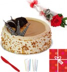 send Eggless Half Kg Butterscotch Cake Single Roses Candle Greeting Card delivery