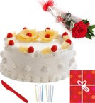 send Eggless Half Kg Pineapple Cake Candle Greeting Card delivery