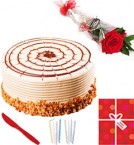 send Eggless 1Kg Butterscotch Cake Single Roses Candle Greeting Card delivery