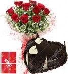 send 1Kg Chocolate Heart Shape Eggless Cake Roses Bouquet N Greeting Card delivery