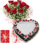 send 1Kg Black Forest Heart Shape Eggless Cake Roses Bouquet N Greeting Card delivery