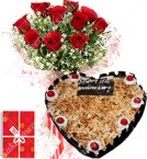 send 1Kg Heart Shape Butterscotch Eggless Cake Roses Bouquet N Greeting Card delivery
