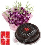 send 500gms Chocolate Eggless Cake N Orchids Bouquet delivery